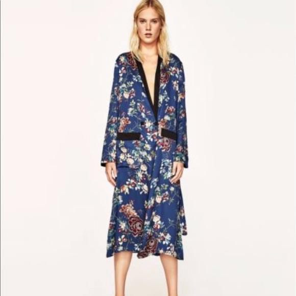 4091c842 Zara Dresses | Nwt Blue Floral Print Long Kimono Robe Dress | Poshmark